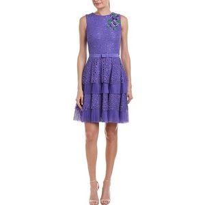 Tadashi Shoji Purple Lace Embroidered Dress